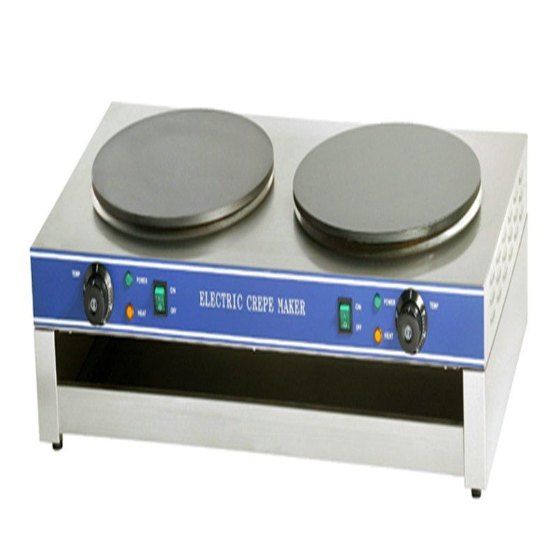 Best selling stainless steel 400mm diameter commercial round gas crepe machine / double head small pancake maker