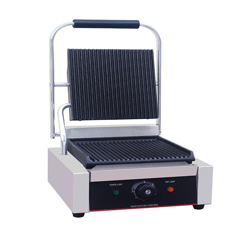 Professional single plate electric flat ribbed ceramic sandwich press panini maker
