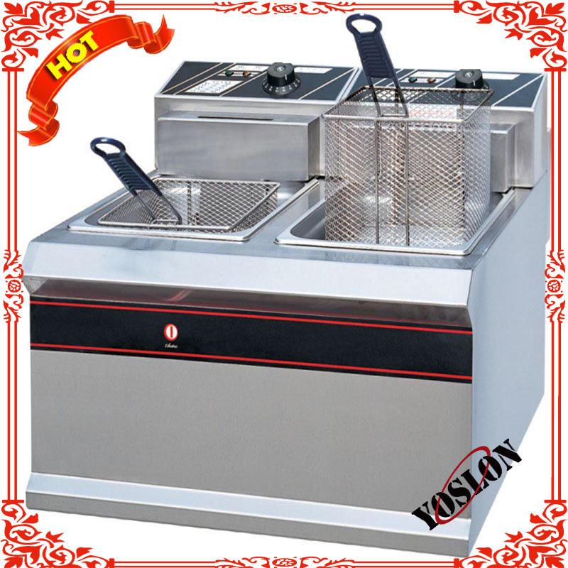 Hot sale Professional manufacturing commercial desktop electric 2-tank fryer