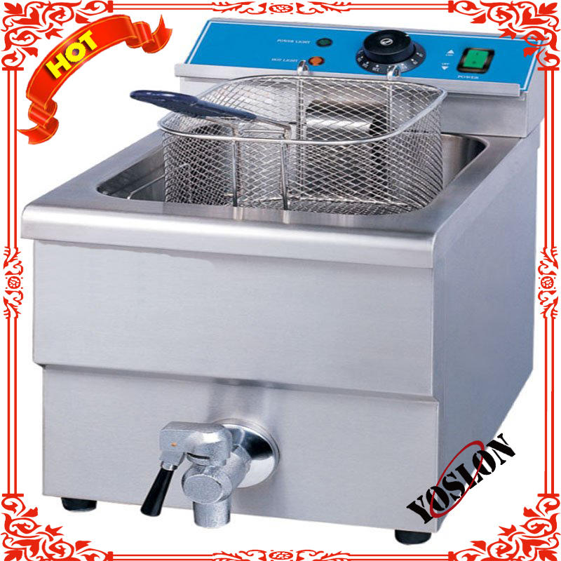 Commercial counter top deep frier 1 tank 1 basket 10L with valve and fryer baskets (SY-TF110V SUNRRY)