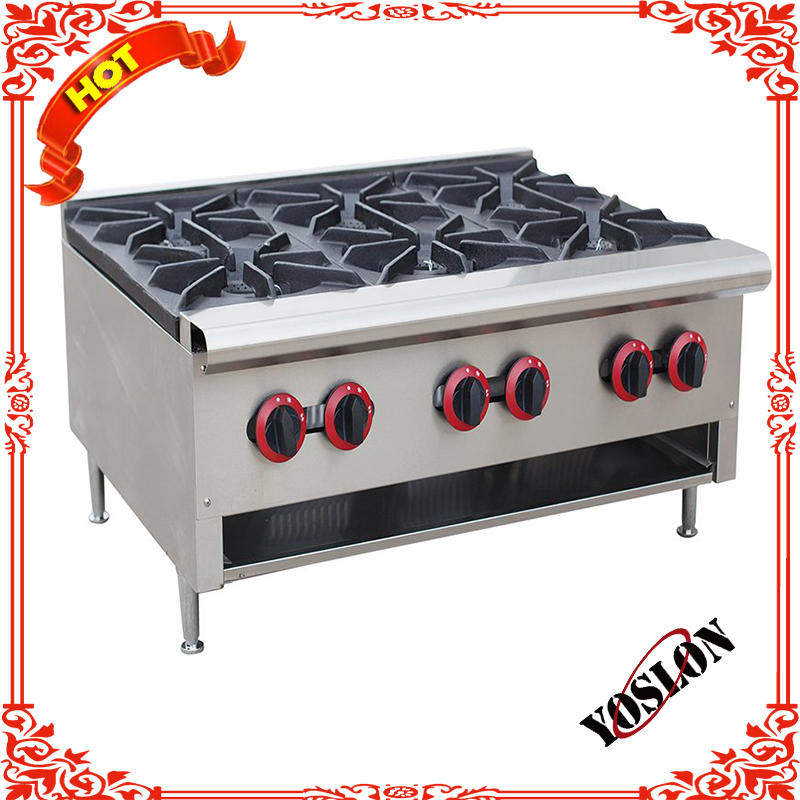 6 Burners Portable Commercial Counter Top Lpg Gas Range Cooker Stove
