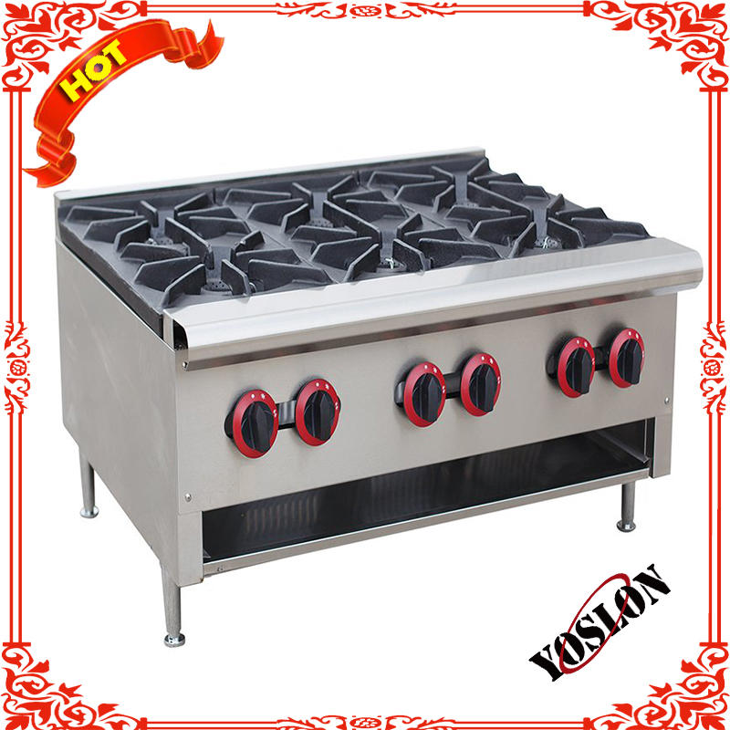Hot sale cooking stainless steel 6 burner gas stove with 6 burners electric oven