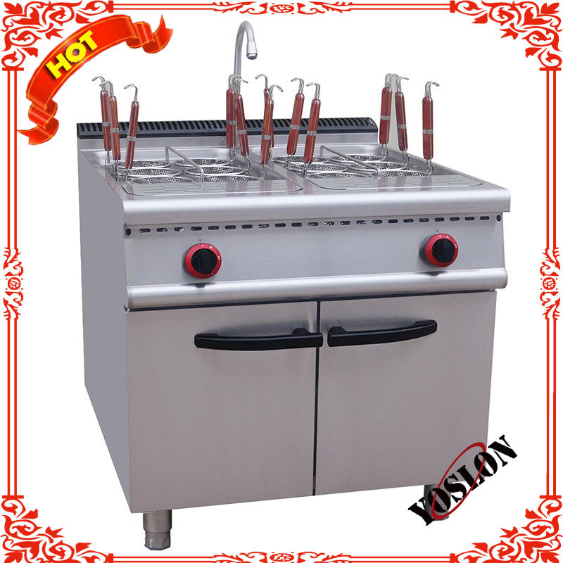 Commercial electric counter top 6 baskets gas noodle pasta cooking machine with cabinet