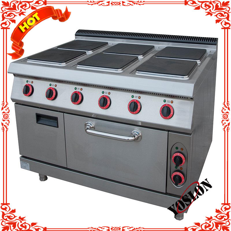 Heavy Duty Electric 6 Hot Plates Cooking Range With Oven For Restaurant and Hotel