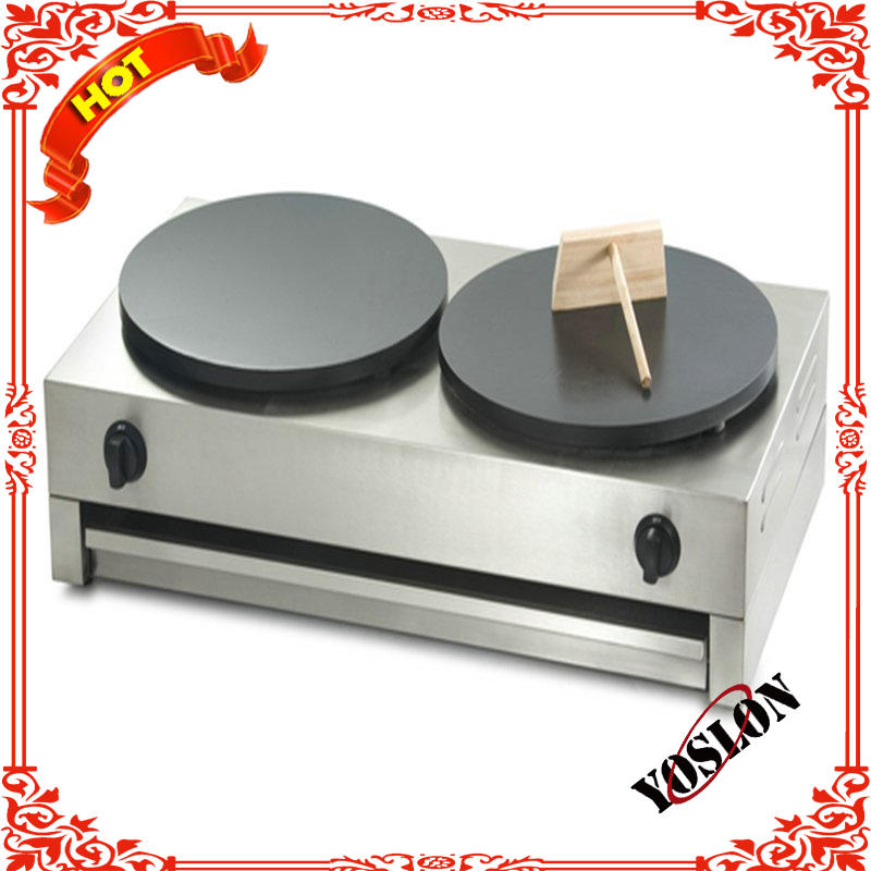 2 heads crepe making machine/pancake machine/gas crepe maker
