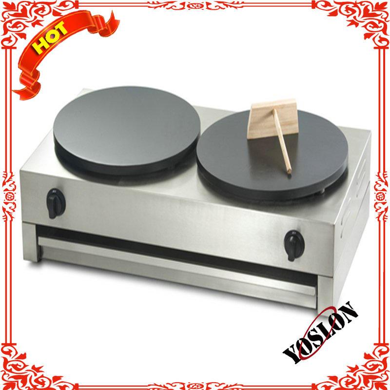 2 heads crepe making machine/pancake machine/gas crepe maker