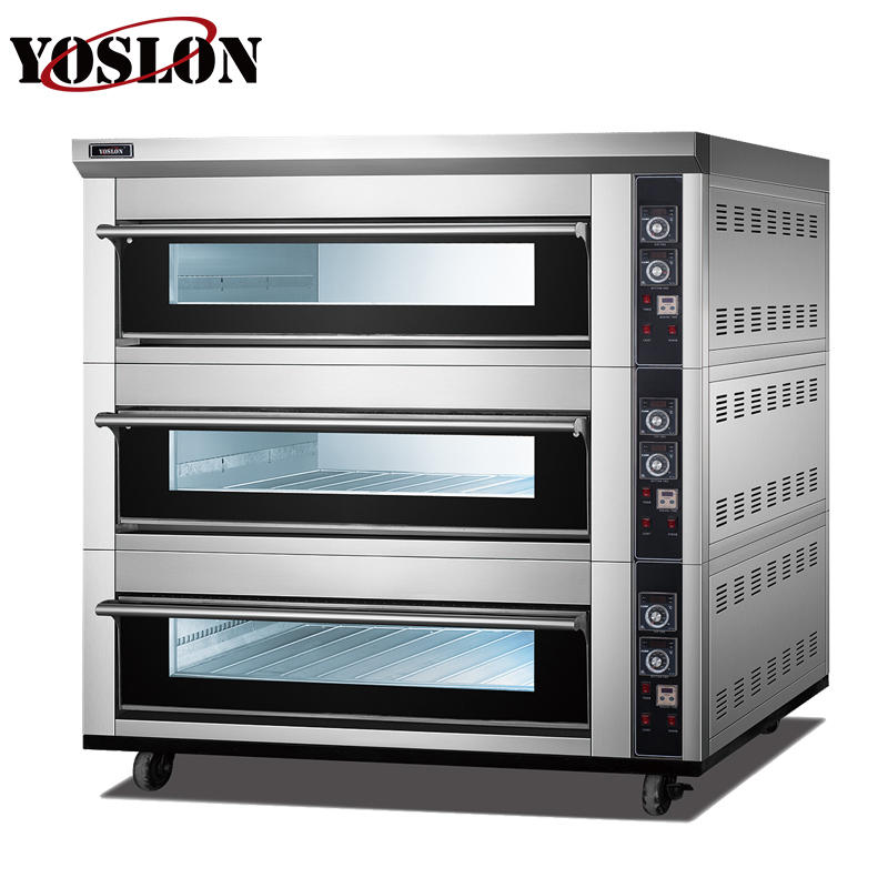 3 deck 12tray commercial bakery equipment electric deck oven bread bascuit baking oven equipment for sell