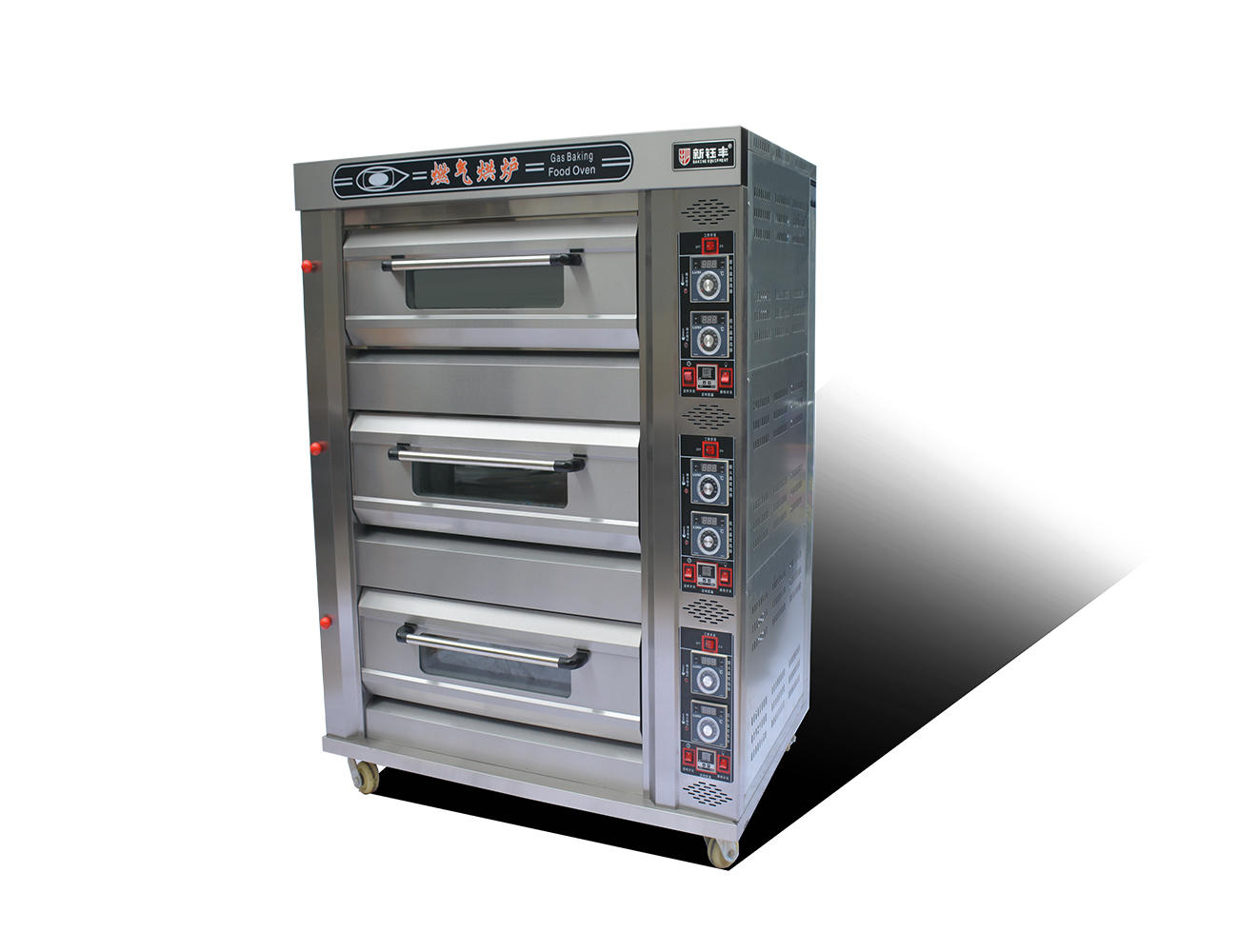 Gas Deck Bread Ovens / Bread Baking Machine 3 Layers 6 Pans