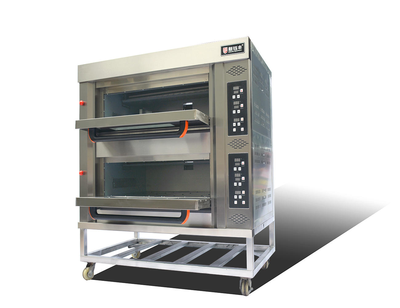 Gas Deck Bread Ovens / Bread Baking Machine 2 Layers 4 Pans